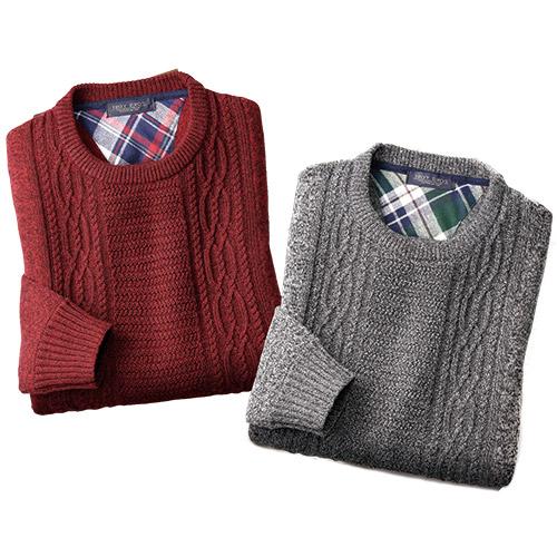 〈トロイブロス〉ケーブル編みお洒落セーター2色組【メンズ ファッション 防寒 厚手 セット品】
