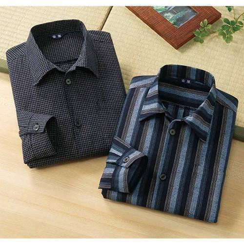 日本製久留米織長袖シャツ 【ワイシャツ メンズ 長袖 和 木綿】
