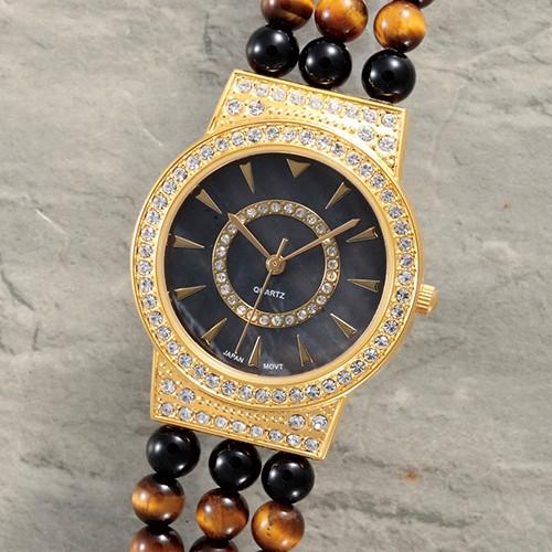 タイガーアイ×オニキスメンズファッション腕時計 【ブレスレット ウォッチ メンズ パワーストーン】【送料無料】