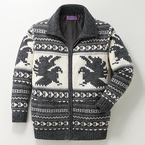 クラブマンチェスター・アルパカ混カーディガン 【裏地 ごわつかない メンズ ジャケット セーター ジップ ファスナー】