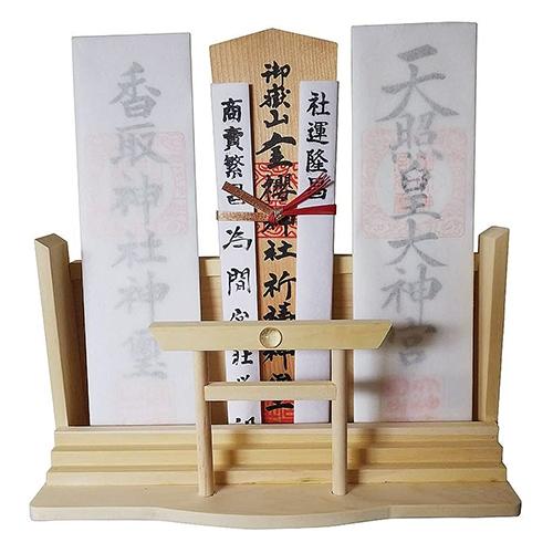 シンプル鳥居神棚【桧 檜 ヒノキ 板 神社 合格祈願 神札 お参り お供え 神具】