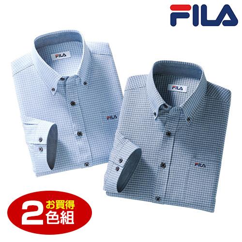 FILA 七分袖チェックシャツ2色組【ボタンダウン メンズ カジュアル ポケット付き】