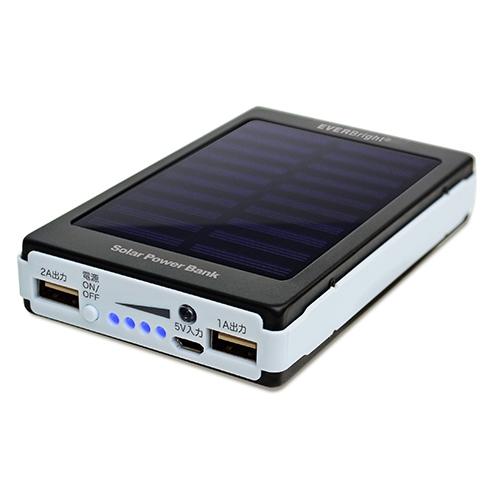 ソーラーパワーバンク【エヴァーブライト モバイルバッテリー 充電池 スマホ タブレット 災害 停電対策 太陽電池 SYHSPB-BK】