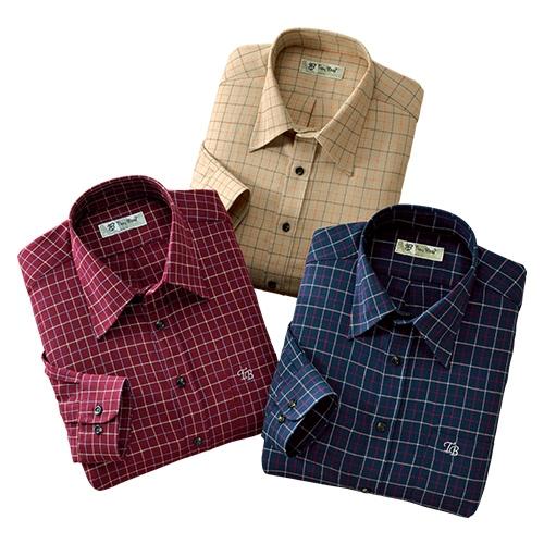 トロイ・ブロス 袖丈選べる格子柄シャツ3色組【綿100% セット品 選べる袖丈】