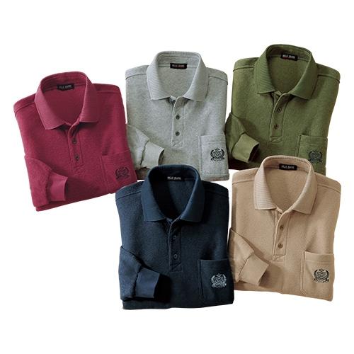 お父さんのこだわり素材ポロシャツ5色組【両面起毛 メンズ 防寒 暖かい 冬物 お買い得】