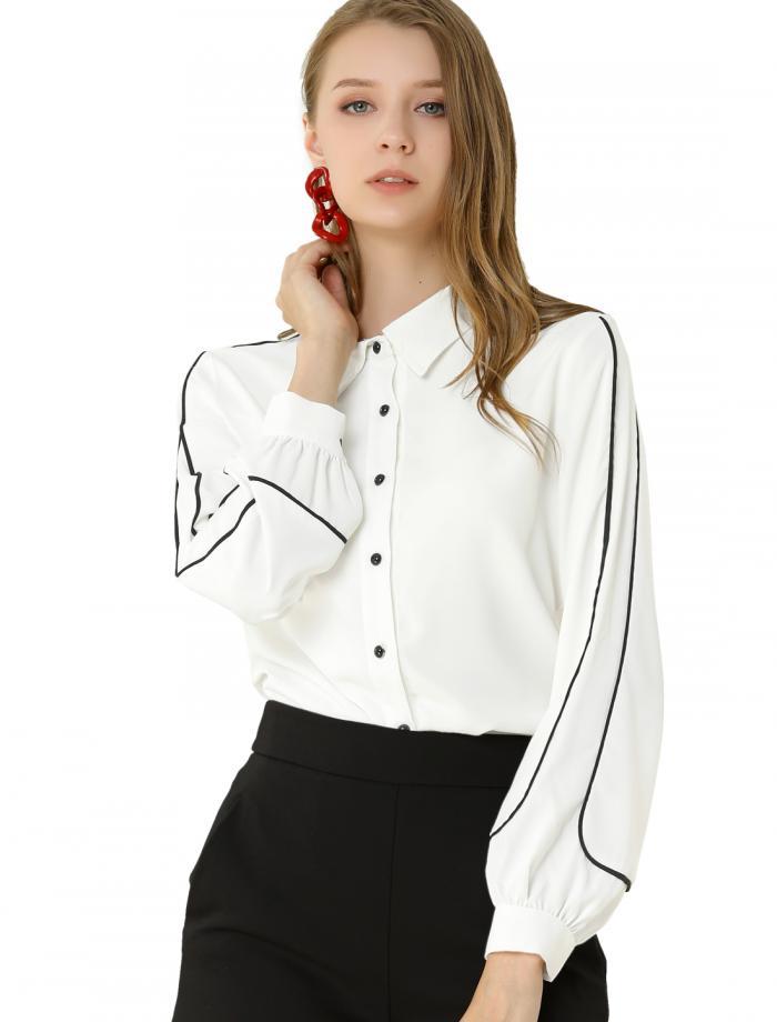 着後レビューで100円OFFクーポンをプレゼント Allegra K オフィス 白 ブラウス ボタン 事務服 シャツ 売れ筋 気質アップ レディース 長袖