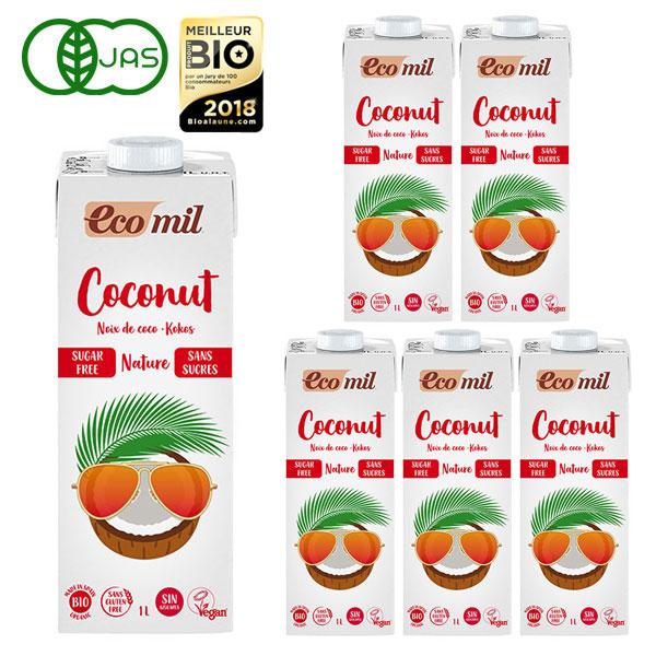 大豆 牛乳アレルギーの方でも飲める植物性ミルク EcoMil 最新号掲載アイテム エコミル ストレート 有機ココナッツミルク 1000ml×6本 内祝い 無糖