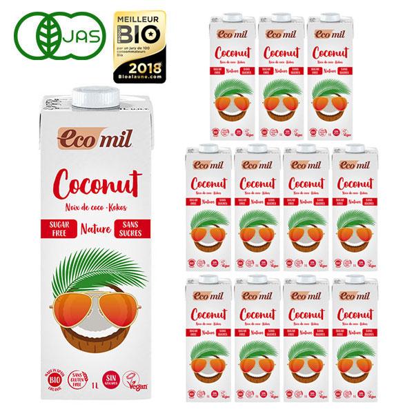 激安通販ショッピング 大豆 SALENEW大人気 牛乳アレルギーの方でも飲める植物性ミルク EcoMil エコミル 無糖 1000ml×12本 ストレート 有機ココナッツミルク