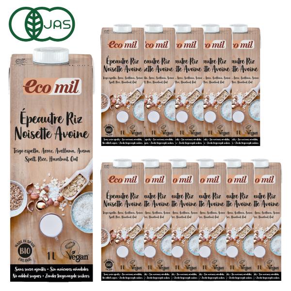 EcoMil(エコミル) 有機スペルト小麦・米・ヘーゼルナッツ・オーツ麦ミルク (糖類無添加) 1000ml×12本