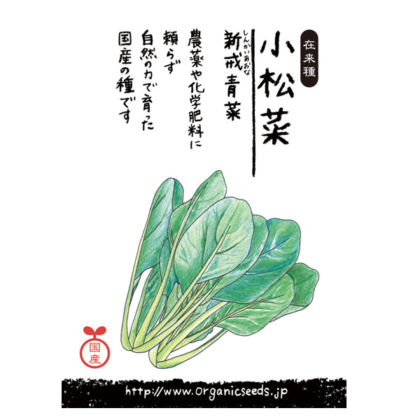 ナチュラルライフステーション 国産・自然農法種子 小松菜/新戒青菜 3月~5月/7月~10月まき 約580粒