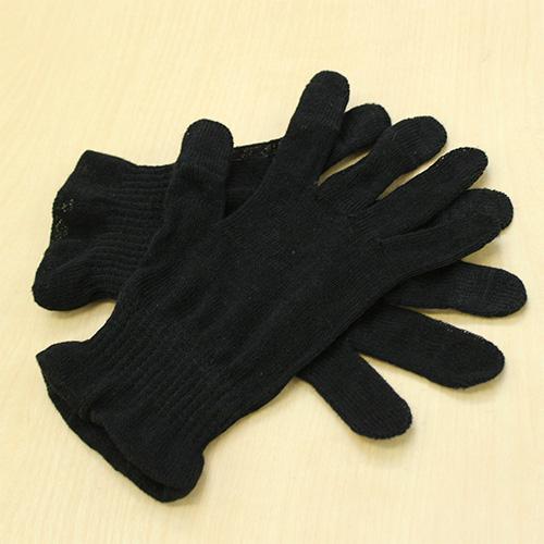 麻福ヘンプおやすみ手袋スマートフォン対応 S セットアップ 麻炭ブラック 国際ブランド