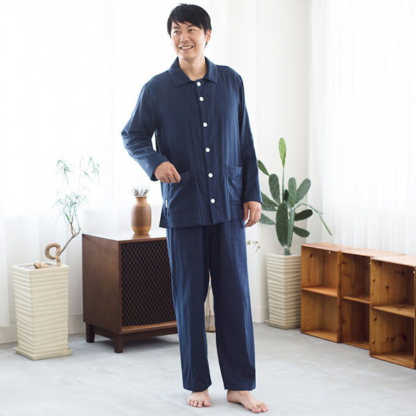 Liflance(リフランス) ふんわり3重ガーゼパジャマ メンズ ネイビー/XL