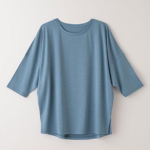 竹布-TAKEFU- ドルマンスリーブTシャツ ターコイズ/M-Lサイズ
