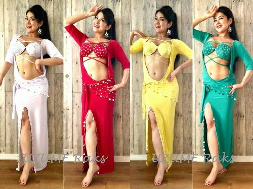 ベリーダンス 衣装 サイディー バラディー ドレス 簡易ブラ/ヒップスカーフ付(ストレッチ性ライクラ)TMS