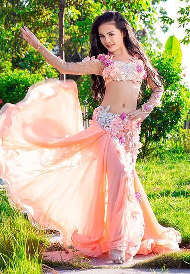 キッズ 子供用 ベリーダンス オリエンタル衣装 豪華エジプシャンスタイル オレンジ(中国製)RT320 *海外お取り寄せアイテム