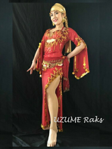 [トータルコーデ]ベリーダンス 衣装 サイディー バラディー ドレス 本格派 高級 おまかせヒップスカーフ付(レッド)