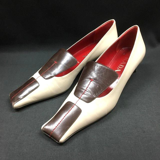 プラダ PRADA DNC517 レザー パンプス シューズ 靴 38 アイボリー/ブラウン 茶 白系 SSAW レディース 【中古】【ベクトル 古着】 180304 VECTOR×Refine