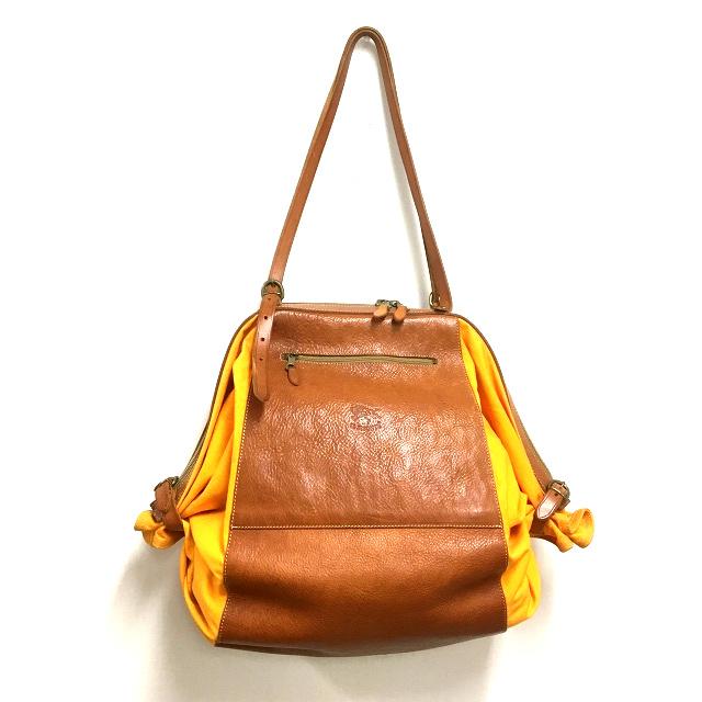 イルビゾンテ IL BISONTE キャンディバッグ トートバッグ 鞄 レザー×キャンバス ブラウン/オレンジ 橙 茶 SSAW レディース 【中古】【ベクトル 古着】 180920 VECTOR×Refine