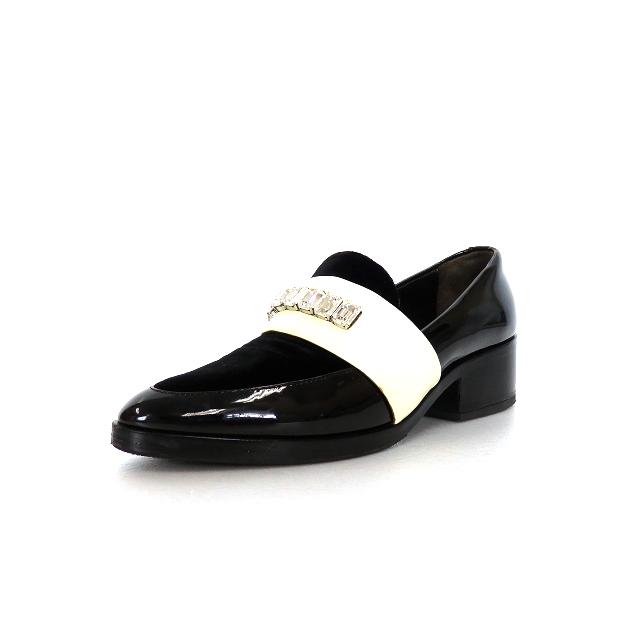 3.1 フィリップリム 3.1 phillip lim Quinn Patent Leather Loafer エナメル コンビ ローファー シューズ 靴 36 ブラック/オフホワイト 白 黒 SSAW レディース 【ベクトル 古着】 200403 VECTOR×Refine:VECTOR×Refine