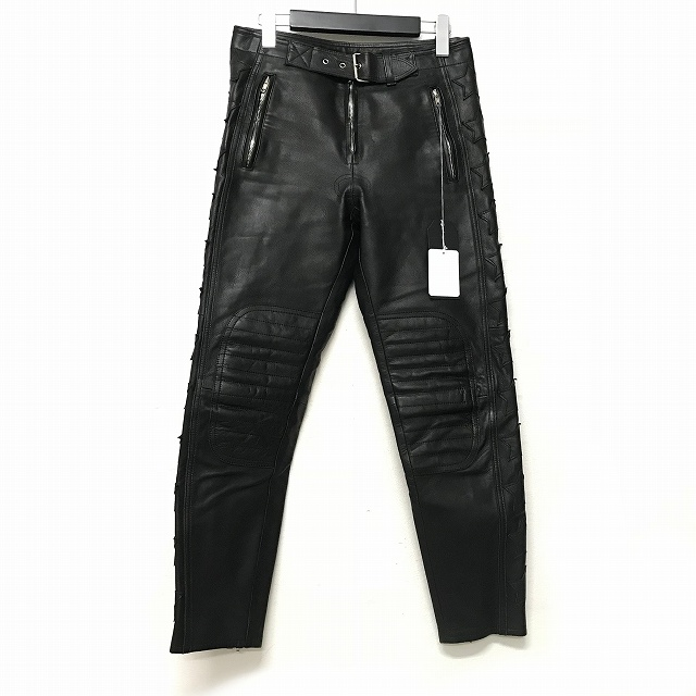 アンユーズド UNUSED Cow leather pants レザーパンツ バイカーパンツ スター ワッペン 牛革 1 黒 ブラック UW0451 メンズ 【中古】【ベクトル 古着】 180705 VECTOR×Refine