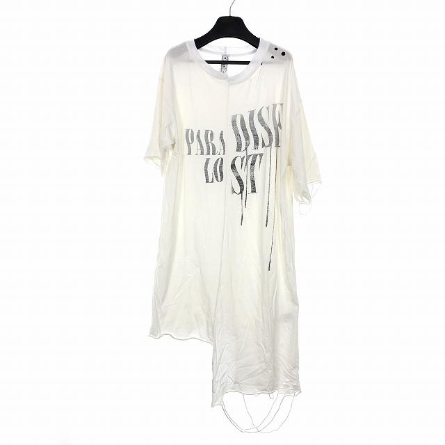 アルケミスト ALCHEMIST PARADISE LOST 18SS ダメージ加工 オーバーサイズ ロング Tシャツ カットソー ホワイト 白 S メンズ 【中古】【ベクトル 古着】 180807 VECTOR×Refine