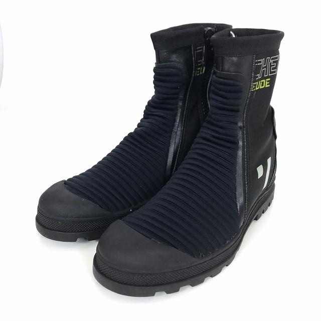 マルタンマルジェラ Martin Margiela 22 16AW Techno Fabric Biker Boots バイカーブーツ サイドジップ ブラック 黒 41 37WS0286 メンズ 【中古】【ベクトル 古着】 181225 VECTOR×Refine