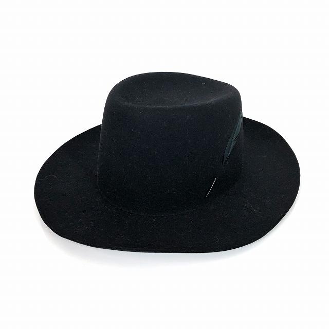 【中古】レナードプランク REINHARD PLANK ウール ワイドブリム ハット 帽子 羽根付き PISANO L01 ブラック 黒 SIZE 11 L 6589972066 col.013 メンズ 【ベクトル 古着】 190108 VECTOR×Refine