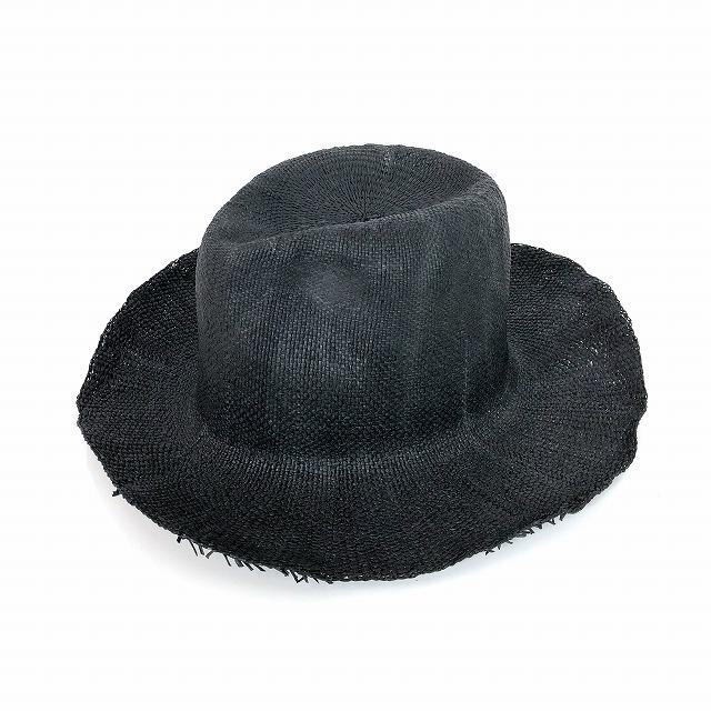 レナードプランク REINHARD PLANK 中折れ ストローハット 麦わら帽子 NIFORM BNK ムラ加工 ブラック 黒 SIZE 13 XL 6589971062 col.013 メンズ 【中古】【ベクトル 古着】 190129 VECTOR×Refine
