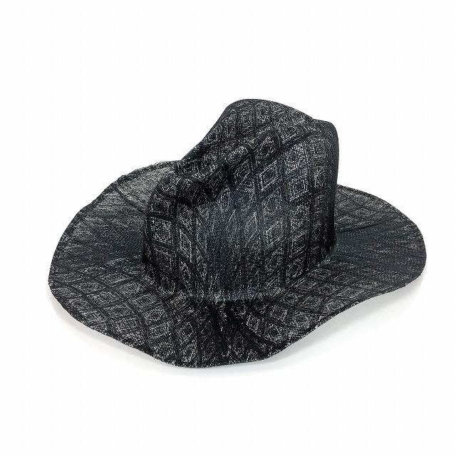 レナードプランク REINHARD PLANK 総柄 中折れ ストローハット 麦わら帽子 LAILA OPEN SIS ブラック 黒 SIZE 13 XL 6589971045 col.913 メンズ 【中古】【ベクトル 古着】 190209 VECTOR×Refine