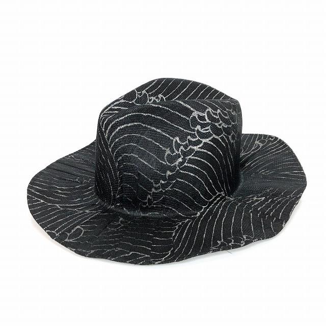 レナードプランク REINHARD PLANK 総柄 中折 ワイドブリム ストローハット 麦わら帽子 LAILA OPEN SIS ブラック 黒 SIZE 13 XL 6589971046 col.915 メンズ 【中古】【ベクトル 古着】 190209 VECTOR×Refine