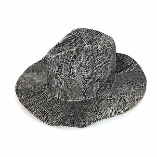 レナードプランク REINHARD PLANK 総柄 中折 ワイドブリム ストローハット 麦わら帽子 LAILA OPEN SIS グレー SIZE 13 XL 6589971046 col.911 メンズ 【中古】【ベクトル 古着】 190211 VECTOR×Refine