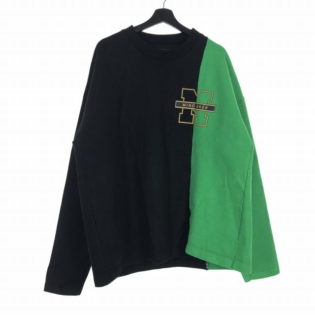 マインドシーカー MINDSEEKER 18SS RYO TEE ドッキング プリント Tシャツ カットソー 長袖 グリーン 緑 ブラック 黒 XL MS-181-032 メンズ 【中古】【ベクトル 古着】 190307 VECTOR×Refine