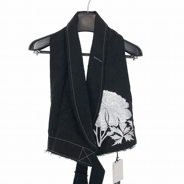 アンドゥムルメステール ANN DEMEULEMEESTER 18SS フラワー 刺繍 ジレ ベスト 花柄 XXS 黒 ブラック 1801-3154-174-096 メンズ 【中古】【ベクトル 古着】 190312 VECTOR×Refine