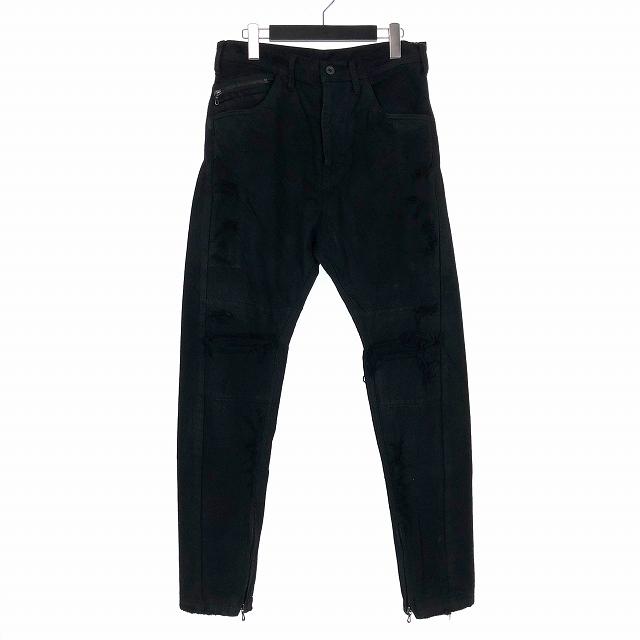 ユリウス JULIUS 18AW Rider Pants ライダーパンツ ダメージ デニム 1 黒 ブラック 637PAM12-BK メンズ 【中古】【ベクトル 古着】 190314 VECTOR×Refine