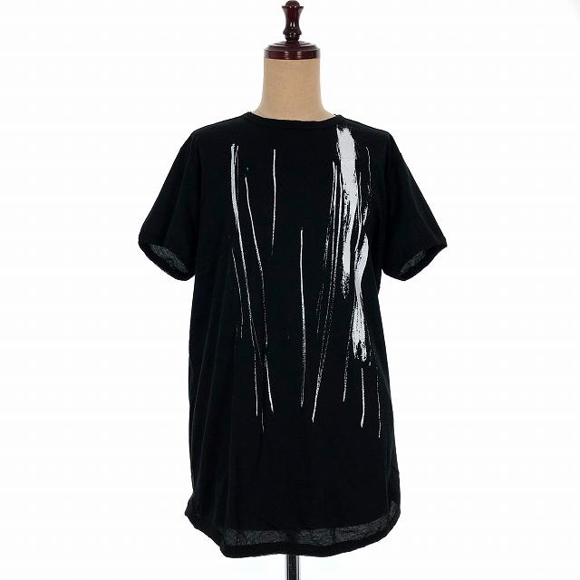 アンドゥムルメステール ANN DEMEULEMEESTER 18SS ペイントプリント Tシャツ カットソー 半袖 クルーネック 36 ブラック 黒 1801-2489-232-098 レディース 【中古】【ベクトル 古着】 190316 VECTOR×Refine
