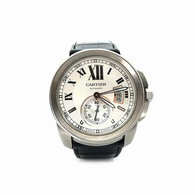 【中古】 カルティエ Cartier 腕時計 ウォッチ カリブル ドゥ カルティエ 自動巻き レザーベルト シースルーバック 42mm シルバー W7100037 メンズ 【ベクトル 古着】 190328