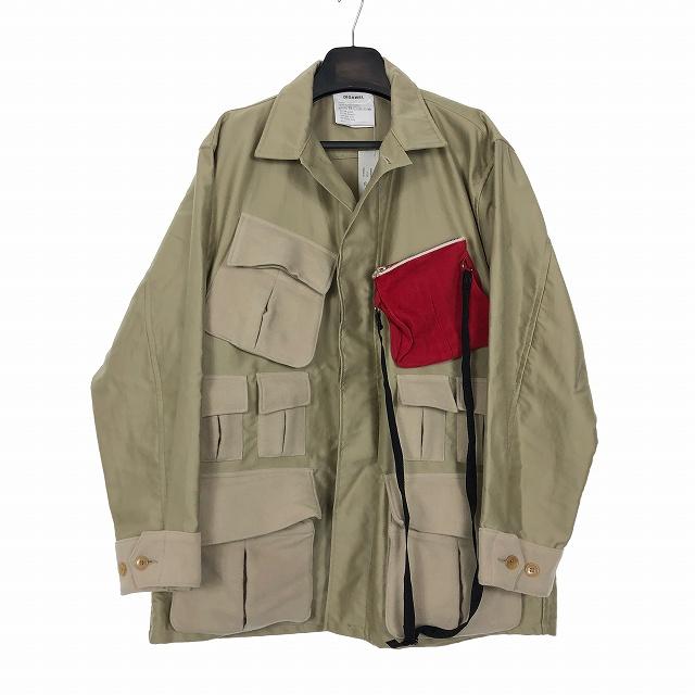 【中古】 ディガウェル DIGAWEL 18AW ポケット シャツ ジャケット ブルゾン 1 ベージュ メンズ 【ベクトル 古着】 190329