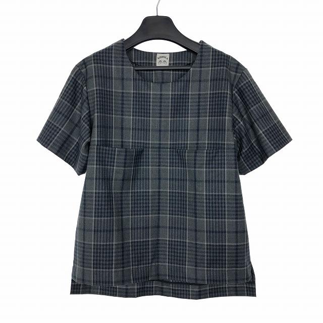 【中古】 サンシー SUNSEA チェック Tシャツ カットソー シャツ 半袖 プルオーバー ポケット 2 グレー 灰色 メンズ 【ベクトル 古着】 190330