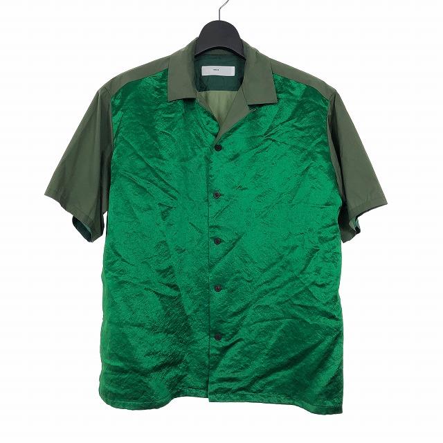 【中古】トーガ TOGA VIRILIS 19SS ナイロンタフタ オープンカラーシャツ 半袖 46 カーキ マルチカラー メンズ 【ベクトル 古着】 190730 VECTOR×Refine