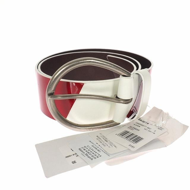 【中古】メゾンマルジェラ Maison Margiela 18AW エナメル カーフレザー ストライプ ベルト S レッド ホワイト 赤 白 S56TP0096 メンズ レディース 【ベクトル 古着】 200210 VECTOR×Refine