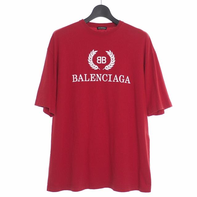 【中古】バレンシアガ BALENCIAGA 18AW BB ロゴ プリント Tシャツ カットソー XS レッド 赤 544271 メンズ 【ベクトル 古着】 200404 VECTOR×Refine