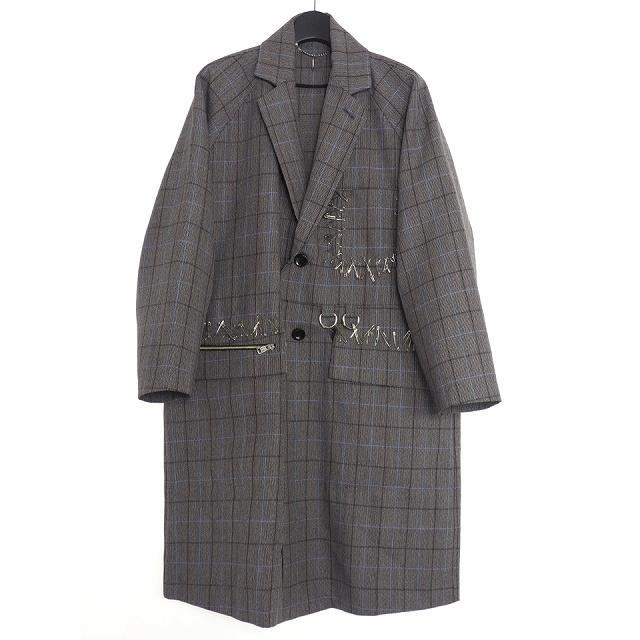 【中古】ダイエットブッチャースリムスキン DIET BUTCHER SLIM SKIN 19AW Raglan sleeve checked coat ラグランスリーブ チェック コート 装飾 2 グレー DBG9509011 メンズ 【ベクトル 古着】 200504 VECTOR×Refine
