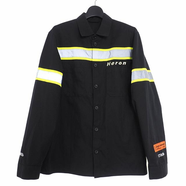 【中古】ヘロンプレストン HERON PRESTON reflective twill shirt リフレクター シャツ 長袖 M ブラック 黒 HMGA002F18648010 メンズ 【ベクトル 古着】 200514 VECTOR×Refine