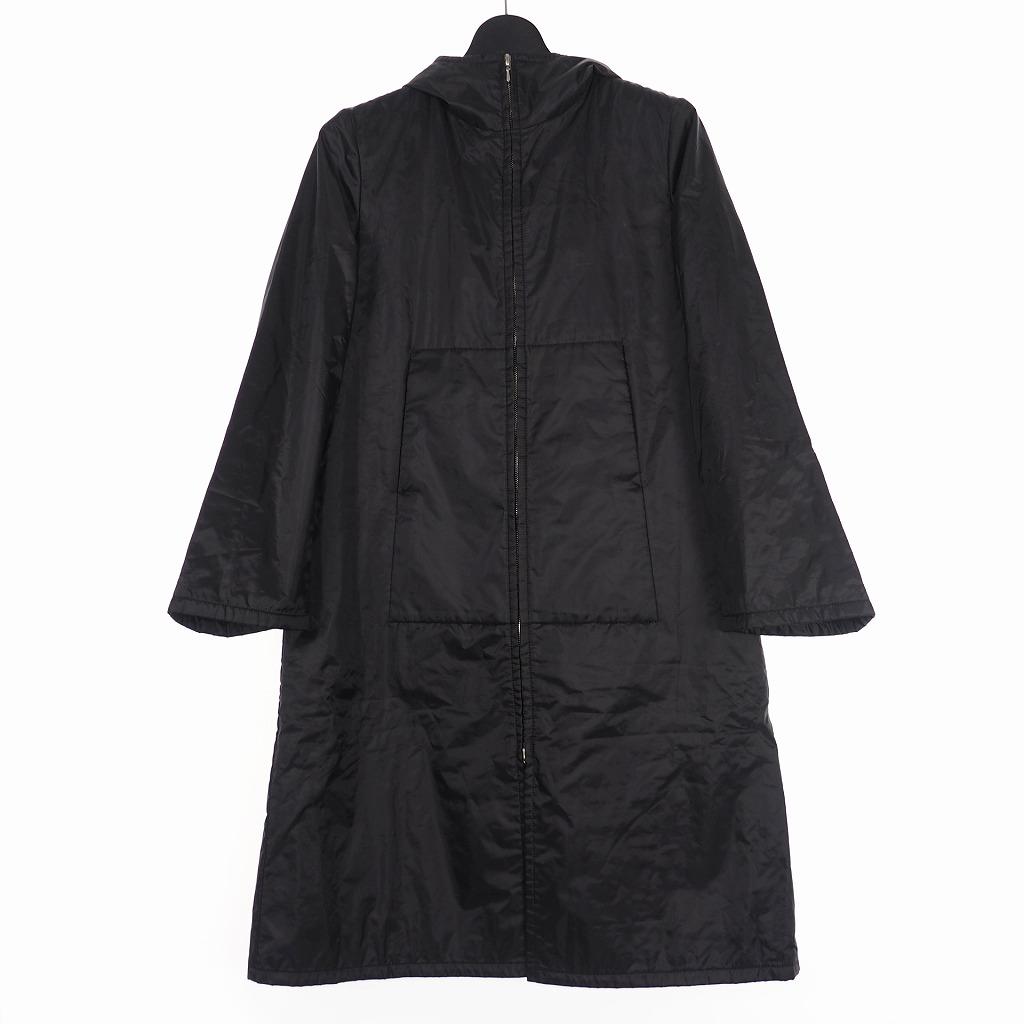 【中古】アニエスベー agnes b. フーデッド ロングコート ジャケット ナイロン O ブラック 黒 レディース 【ベクトル 古着】 200626 VECTOR×Refine