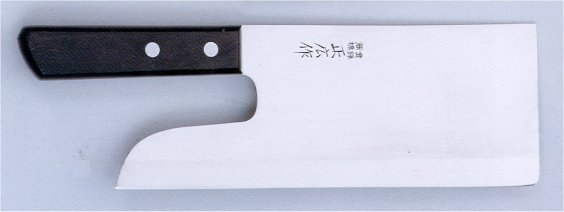 正広 マサヒロ ステン麺切包丁・厚口片刃(No.10636)【包丁研ぎ券付き】