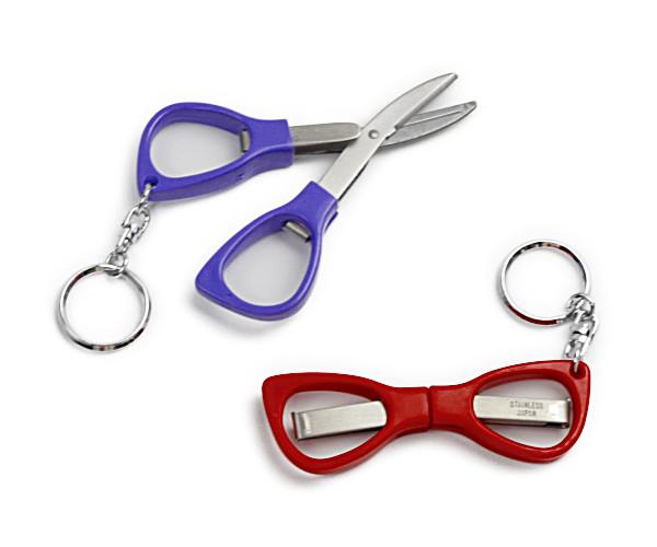 メガネはさみ <ミニハサミ 携帯はさみ ポケット鋏 コンパクトはさみ> キーホルダー付き