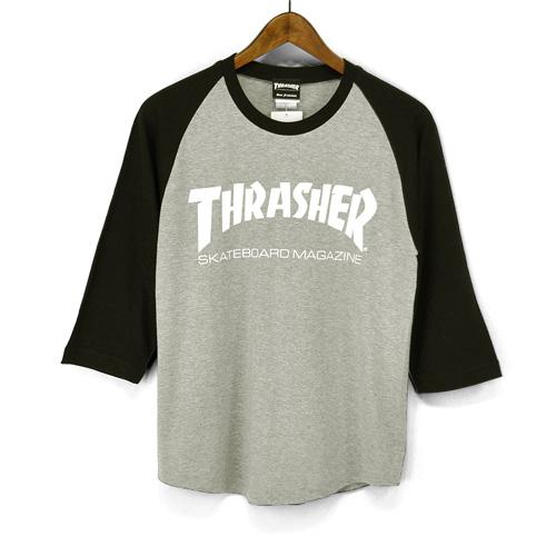 3038a06080a5 THRASHER slasher seven minutes sleeve T-shirt raglan sleeves three-quarter  sleeves T- ...