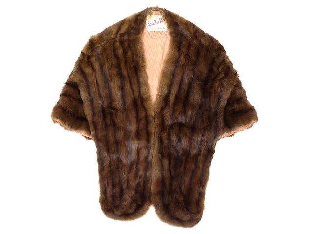 Douis Fur Shops■ミンクボレロ ブラウン/FREE リアルファー ヴィンテージ 古着