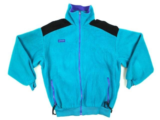 80'S 90'S USA製 Columbia コロンビア フルジップフリースジャケット(レディース L)エメラルドグリーン