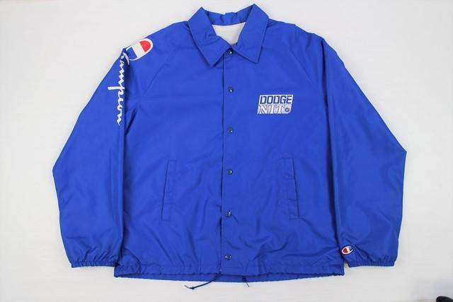 90's■champion チャンピオン コーチジャケット USA製 ブルー/L 袖プリ